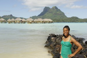 Brittany on the beach of the Bora Bora Pearl Beach Resort. Photo Credit: Julie Rosendo