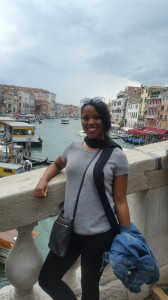 Britt on the iconic Rialto Bridge in Venice, Italy.