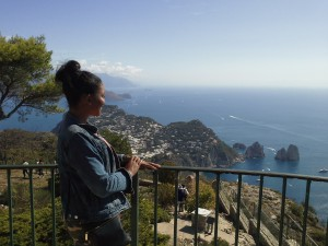 Britt takes in the views from Capri, Italy.