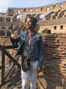 Britt taking in the views of inside the Colosseum
